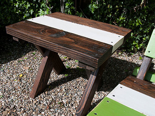 reclaimed wood, wooden adirondack side table, outdoor table, patio table, modern outdoor table, garden table, outdoor wood table, farmhouse table, cottage table, modern table, contemporary table, rustic table, wood side table