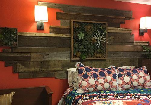 Vertical wall garden, Living wall, reclaimed wood, moss, succulents, ferns, planters, custom logos, bedroom wall design, living garden wall art, indoor living wall art