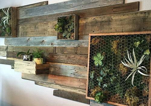 Vertical wall garden, Living wall, reclaimed wood, moss, succulents, ferns, planters, custom logos, moss logo, office decor, indoor living wall art, best wall art for living room