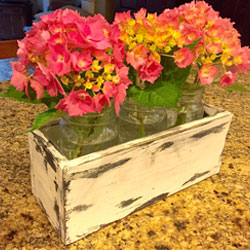rustic wood flower holder, center piece flower holder, reclaimed wood, mason jars, rustic decor