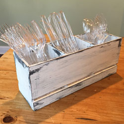 utensil caddy, rustic wood utensil caddy, outdoor entertainment, forks, knives, spoons, container, rustic decor